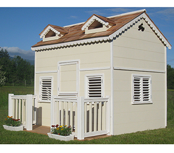 Painted playhouse with loft and front porch
