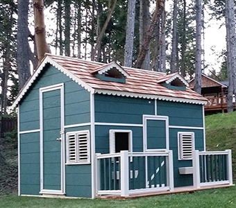 Large playhouse with loft and deck