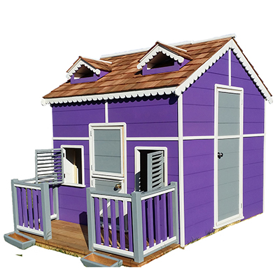 These playhouses are custom built one at a time and you can add accessories to get your custom playhouse. The playhouse kits are easy to assemble.
