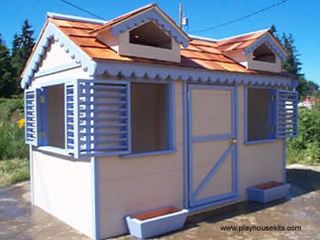 Taupe and Periwinkle playhouse